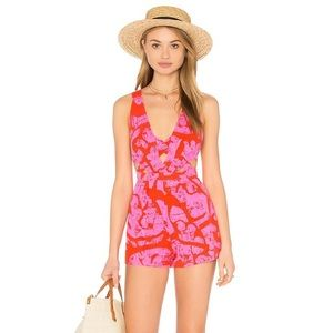 NWT Free People pink & red backless strappy romper